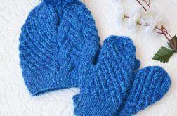 Komplet czapka i rękawiczki szafirowe