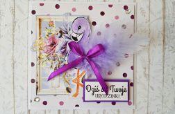 Kartka urodzinowa- fioletowy flaming