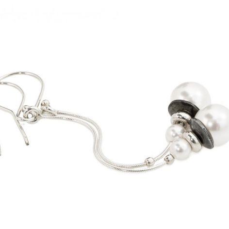 Kolczyki białe perły Swarovski długie 925