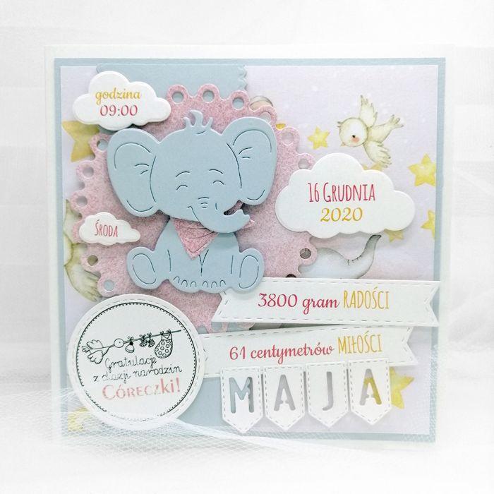 Kartka narodziny córeczki ze słoniem NRD 019 - Kartka narodziny córeczki gratulacje ze słonikiem(2)