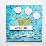 Kartka URODZINOWA niebiesko-biała - Kartka Urodzinowa niebiesko-biała