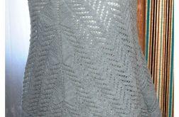 29 duża szara ażurowa chusta rękodzieło