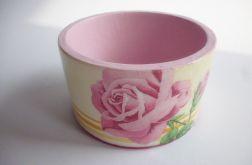 Bransoletka płaska z motywm roży decoupage