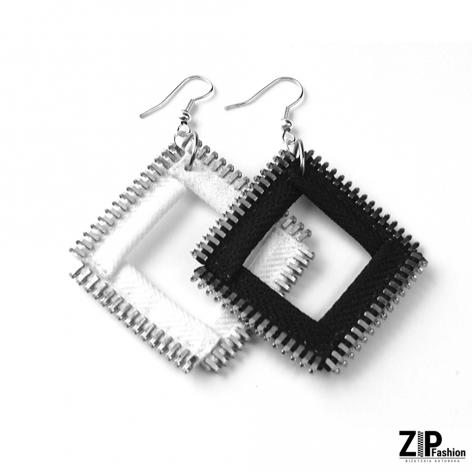 Designerskie kolczyki kwadraty black&white
