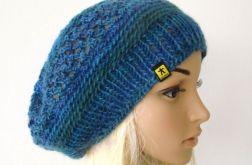 beret ażurowy w błękitach