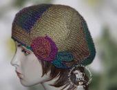 beret/ czapka odcienie bezu i zieleni