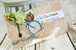 kartka urodzinowa- rower pełen kwiatów