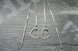 Srebrne Kolczyki SERCE na łańcuszku, srebro