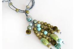 4974 długi naszyjnik zielony oliwkowy