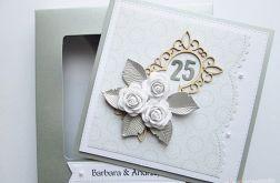 Kartka ROCZNICA ŚLUBU białe róże