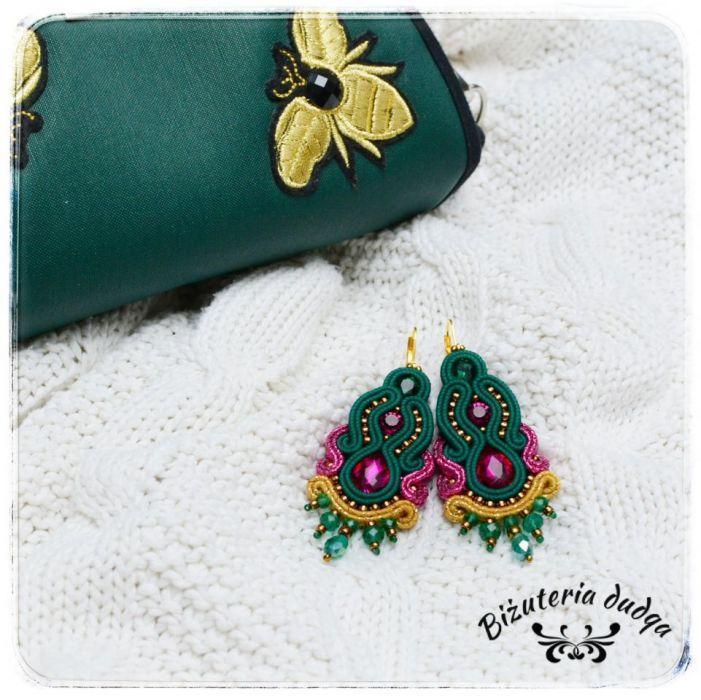 Kolczyki sutasz be Royal długie zielony zloty - Soutage