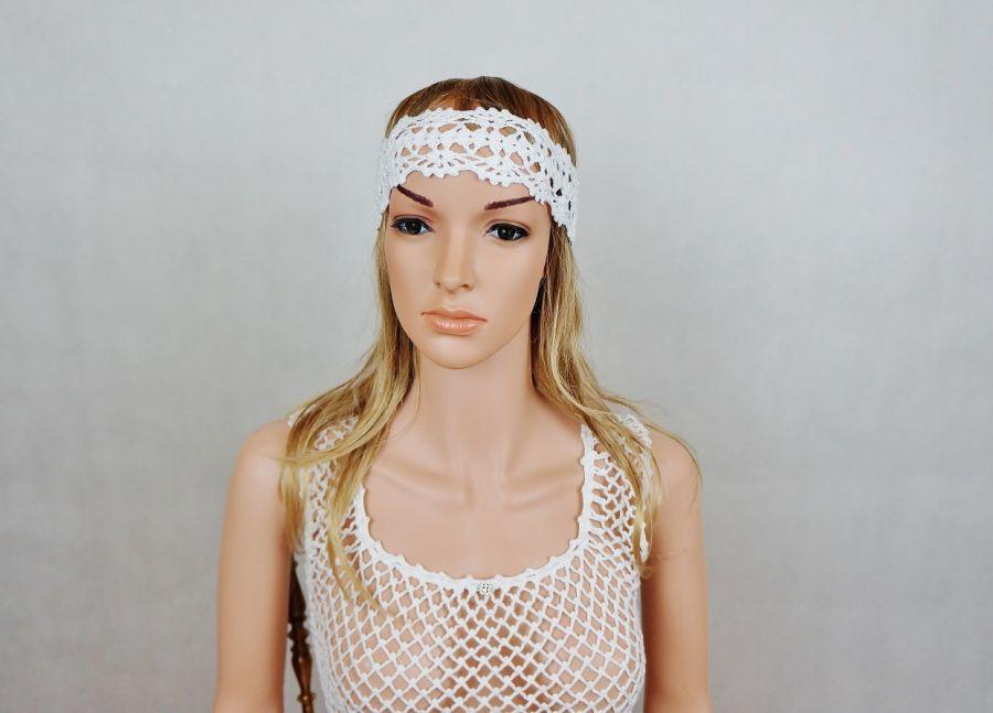 Opaska handmade biała 01 - opaska na głowę