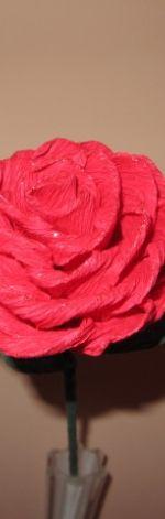 Róża różowa ze srebrnym brokatem