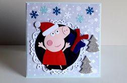 Kartka Boże Narodzenie handmade Peppa