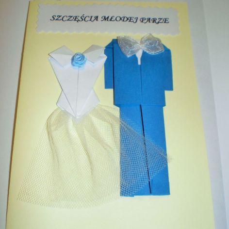 kartka ślubna origami
