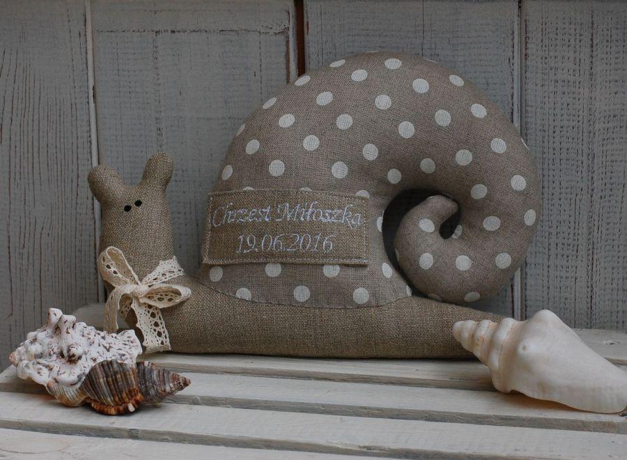 Imienny, lniany ślimak tildowy - spersonalizowana zabawka
