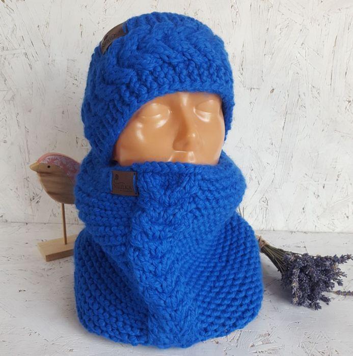 Niebieski komin z opaską