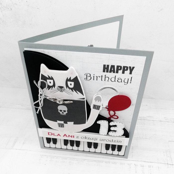 Kartka rockowa z klawiszami i kotem UDP 019 - Kartka rockowa z klawiszami i kotem urodziny czarna (2)