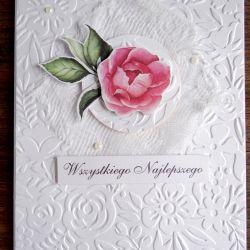 Biała kartka z różą