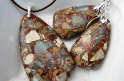 Jaspis cesarski, elegancki zestaw w srebrze