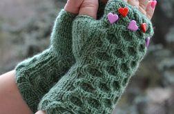 Zielone rękawiczki mitenki - krótkie