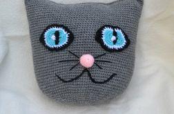 Szydełkowa poduszka dla dziecka -szary kotek