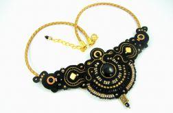 Naszyjnik elegancki złoto czarny glamour