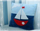 Poduszka marynistyczna 'Statek' (dwustronna)