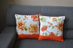 Dwie poszewki - pomarańczowe kwiaty
