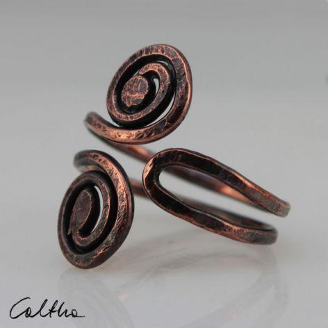 Zawijasy - miedziany pierścionek 190710-01
