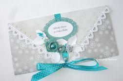 Kopertówka, kartka na ślub Młodej Pary popielato - turkusowa