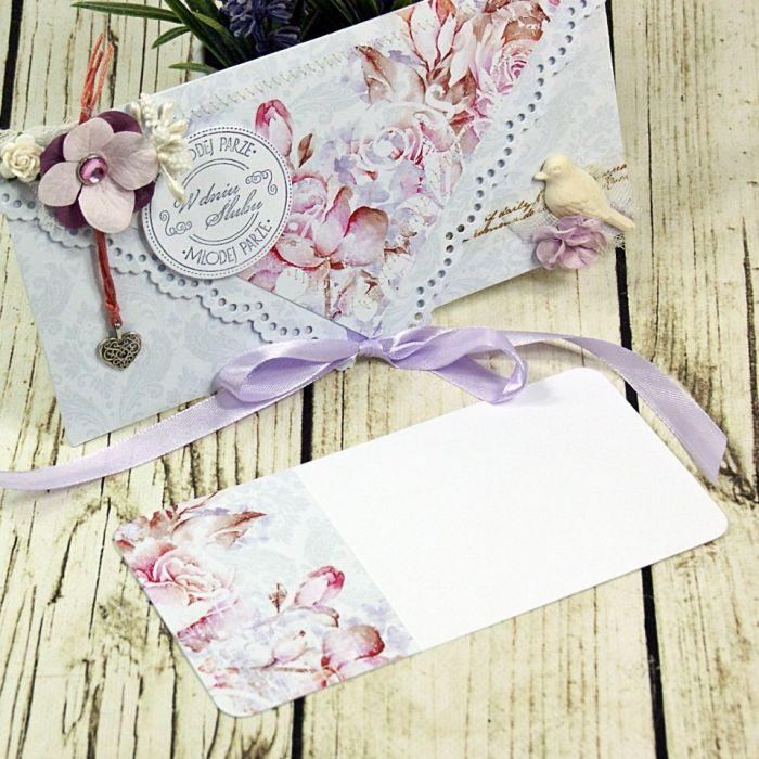 Kartka na ślub- różany zakątek