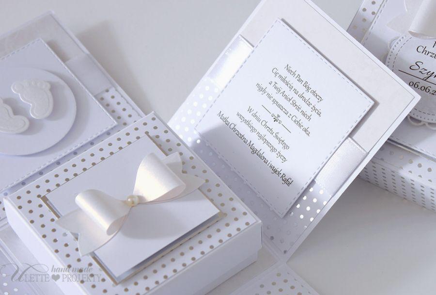 Exploding box chrzest święty biało srebny - Exploding box chrzest świety biało srebny