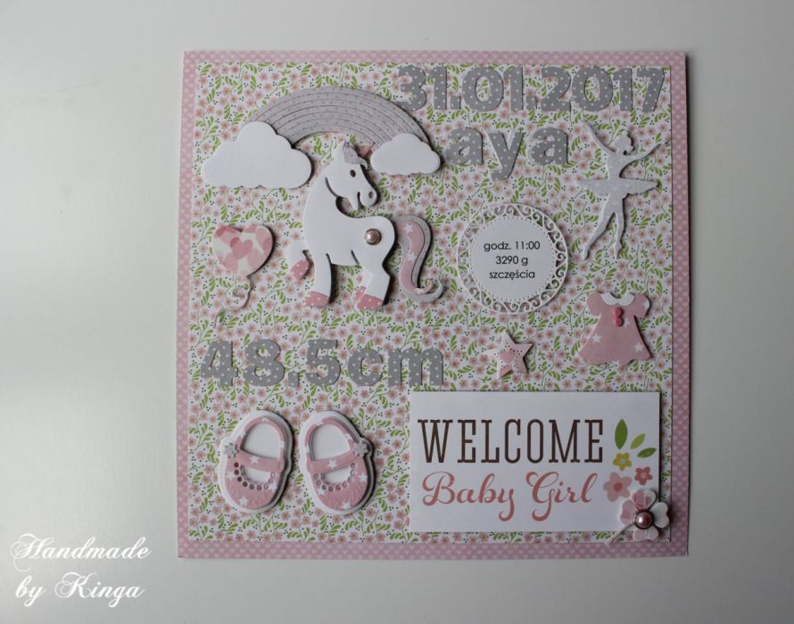 Metryczka Welcome Baby Unicorn