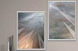 Obraz x2 ręcznie malowany płótnie 50cm x 70cm