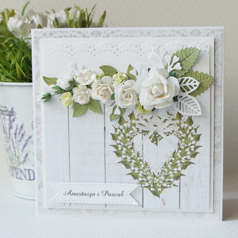 Kartka ślubna z bukietem kwiatów v.2