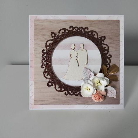 Kartka naślub para młoda kwiaty brąz