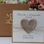 Rustykalna kartka ślubna z pudełkiem 2