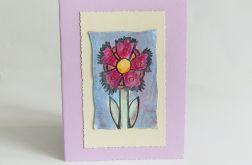 Kartka uniwersalna fioletowa z kwiatkiem 4