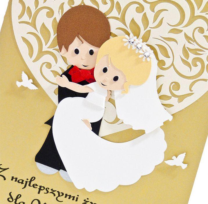 Kartka ślubna z Parą Młodą z sercem -