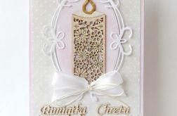 Pamiątka Chrztu Św. beżowo - rózowa