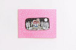 Różowa kartka zaśnieżony domek nr 3