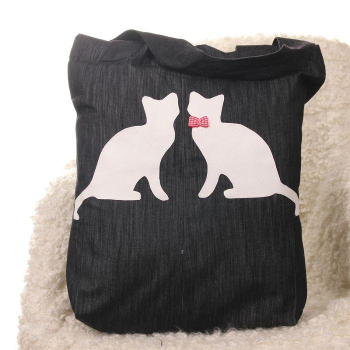 Ekologiczna torba na zakupy z kotami dzinsowa