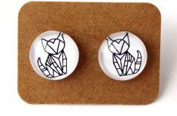 Kolczyki origami koty 12mm