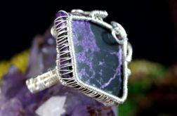 Purpuryt, srebrny pierścionek z purpurytem