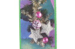 Fioletowo zielono kartka świąteczna