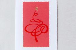 Kartka świąteczna zakręcona choinka