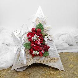 Kartka świąteczna w kształcie choinki BNR 012