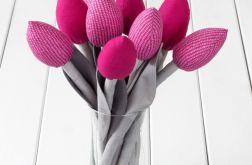 TULIPANY, szaro ciemno różowowy bukiet