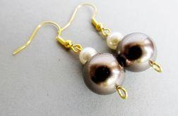 brązowe perły - kolczyki